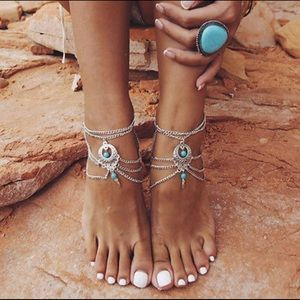 Jewelry - Restocked! PAIR Silvertn turquoise anklet / arm